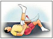 Estiramiento del ligamento de la corva, posición supina