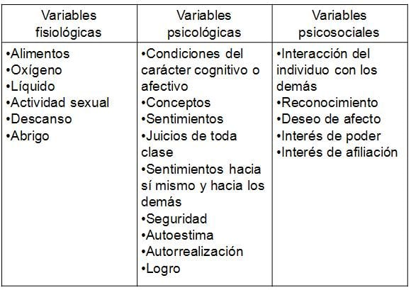 Categorias de las variables internas