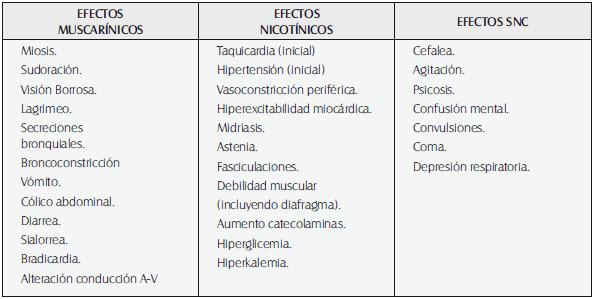 Signos y síntomas del síndrome colinérgico